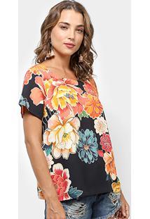 Camiseta Farm Mira Floral Feminina - Feminino-Preto