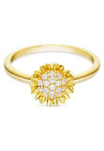 Anel Life Flor Girassol Com Banho Ouro Amarelo