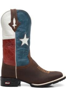 Bota Ellest Texana Bandeira Do Texas Bico Quadrado Masculina - Masculino-Marrom+Azul