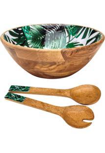 Conjunto Leafage De Saladeira E Talheres De Madeira Bon Gourmet Verde