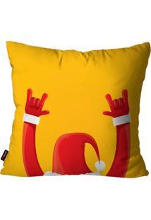Capa De Almofada Pump Up Decorativa Avulsa Natalina Papai Noel Rock N' Roll 45X45Cm - Amarelo - Dafiti