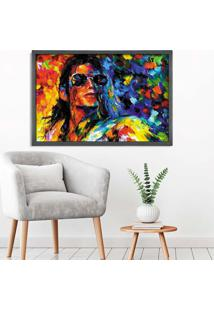 Quadro Love Decor Com Moldura Michael Jackson Grafitti Metalizado Grande