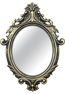 Espelho Redondo De Parede Provençal Rococo Mart Collection 72,5Cmx52,5Cm Dourado/Preto