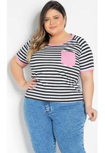 Blusa Listrada Com Bolso Plus Size