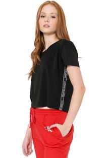 Blusa Calvin Klein Jeans Listras Laterais Preta