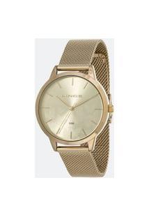 Kit Relógio Feminino Lince Lrg4601L-Kw01C1Kx Analógico 5Atm + Conjunto Semijóia   Lince   Champagne   U