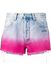 Off-White Short Jeans Com Efeito Degradê - Azul