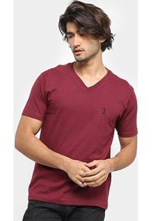 Camiseta Aleatory Bordado Masculina - Masculino-Vinho