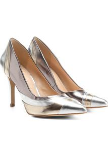 Scarpin Shoestock Salto Alto Ondas Metalizadas - Feminino-Prata