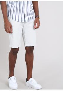 Bermuda Masculina Slim Texturizada Com Bolsos E Cinto Off White