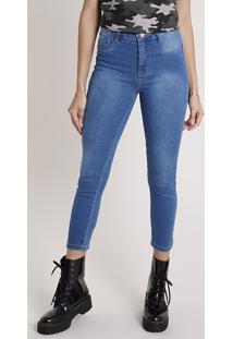 Calça Jeans Feminina Sawary Cropped Push Up Cintura Alta Azul Médio