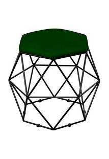 Puff Decorativo Aramado Preto Six Suede Verde Musgo - Lyam Decor
