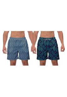 Kit 2 Shorts Masculino Samambaia Estampado Verde Azul Petróleo Moda Praia Surf Verão Caminhada Banho W2