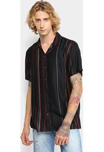 Camisa Forum Manga Curta Listrada Vintage Masculina - Masculino-Preto+Vinho