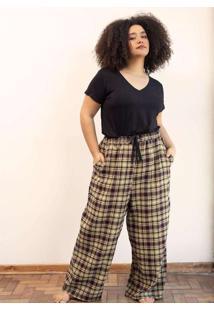 Calça Pantalona Flanelado Xadrez Plus Size Bege/Ro