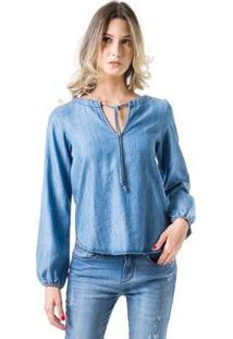 Blusa Bloom Bata Jeans Manga Longa - Feminino-Azul