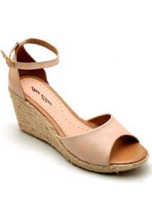 Sandália Anabela Couro D&R Shoes Feminina - Feminino-Nude