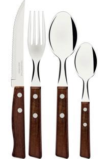 Faqueiro Tramontina Tradicional Com Lâminas Em Aço Inox E Cabos De Madeira 24 Peças 22299050