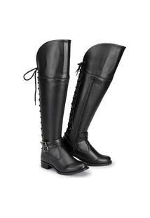 Bota Over The Knee Feminina Zíper Cadarço Confortável Casual Preto 34 Preto