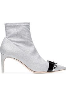 Sophia Webster Ankle Boot 'Andie 70' Com Brilho - Metálico