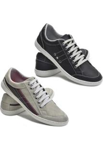 Kit 2 Pares Sapatênis Dec Shoes Tênis Casual Masculino - Masculino-Preto+Cinza