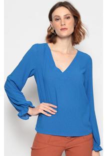 Blusa Texturizada Com Elã¡Stico - Azul - Chocoleitechocoleite