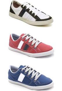 Kit Sapatênis Infantil Dexshoes 3 Pares - Masculino-Branco+Vermelho