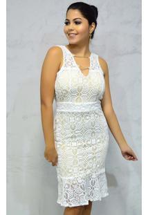 Vestido Curto Rendado Branco Sem Mangas