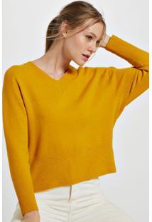 Blusa De Tricot Decote V Amarelo Tawny - M