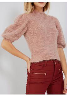 Blusa Tricot Mix Pêlo Rosé