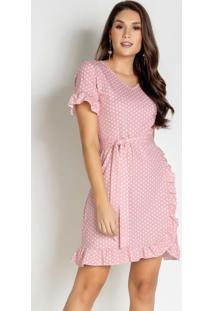 Vestido Poá Rosê Com Babado E Faixa