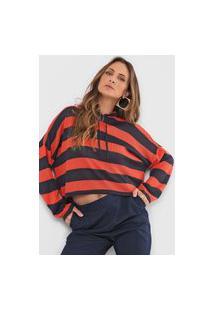Blusa Tricot Mercatto Listrada Vermelha/Azul