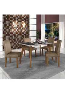 Conjunto De Mesa De Jantar Lavinia Com 4 Cadeiras Olimpia Iii Veludo Imbuia Mel Preto