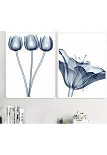 Quadro 2 Peã§As De 40X30Cm Cada Moldura Branca E Vidro Flores Azul Raio-X Breda - Multicolorido - Dafiti