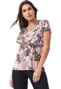 Camiseta Lança Perfume Floral Rosa/Roxa