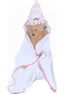 Toalha De Banho Com Capuz Ovelhinha Rosa - 1 Peça