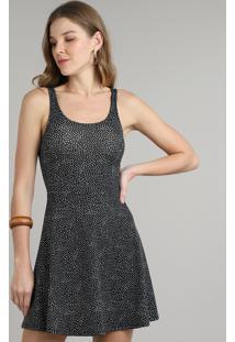 Vestido Feminino Curto Estampado Poá Alça Larga Preto