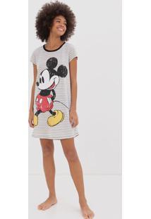 Camisola Manga Curta Listrada Estampa Mickey