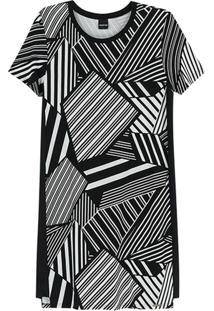 Vestido Preto Geométrico Em Moletinho