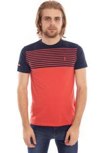Camiseta Aleatory Listrada Band Masculina - Masculino-Coral