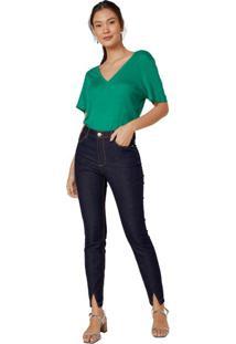 Calça Jeans Skinny Fenda Frontal