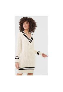 Vestido Tricot Polo Ralph Lauren Curto Listras Tramas Bege/Preto