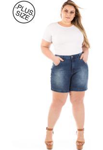 Shorts Jeans Plus Size - Confidencial Extra Médio Com Elastano Winter Plus Size