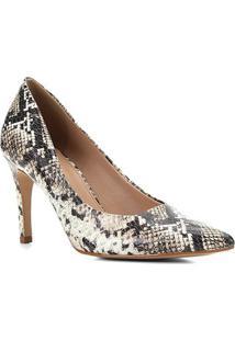 Scarpin Couro Shoestock Cobra Salto Alto - Feminino-Off White+Preto