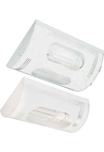Plafon Para 2 Lâmpadas E27 Mini 30X21Cm Listrado Branco Tualux