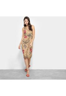 Vestido Midi Lança Perfume Floral - Feminino-Floral