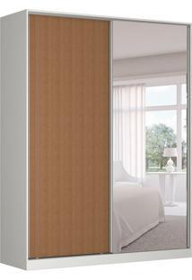 Guarda-Roupa Solteiro Com Espelho Tunas Ii 2 Pt 3 Gv Branco E Marrom