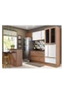 Cozinha Completa Multimóveis Com 6 Peças Calábria 5463 Nogueira/Branco