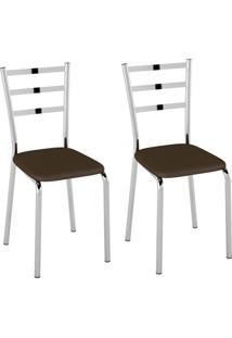 Conjunto Com 2 Cadeiras Vinil I Cacau E Cromado
