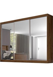 Guarda-Roupa Nápoli - 3 Portas - Com Espelho - Braúna